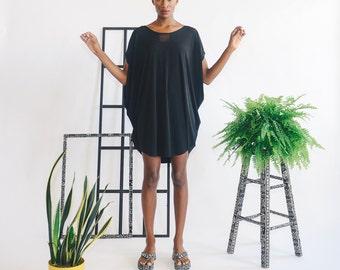 Windowpane Cowl Mini Dress