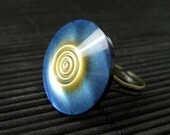 Blue Button Ring.  Sun and Sky Ring. Blue and Yellow Ring. Adjustable Ring. Blue Ring. Bronze Ring. Handmade Ring. Handmade Jewelry.