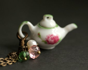 Porcelain Teapot Necklace with Pink Flowers and Green. Bronze Necklace. Tea Pot Necklace with Crystal and Pearl Charms. Handmade Jewelry.