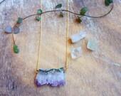 Purple Amethyst Druzy Necklace, Raw Crystal Pendant 14K Gold Filled chain. Drusy Quartz Jewelry, February Birthstone Druzy bohemian necklace