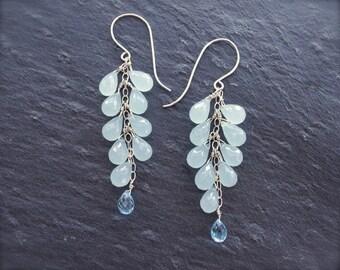 Aqua chalcedony earrings Sterling silver blue chalcedony cluster earrings with blue topaz Blue chalcedony briolette earrings - MADE TO ORDER