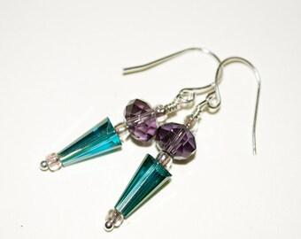 Glass Spike Earrings, Drop Earrings, Glass Drop Earrings, Teal and Purple, Glass Arrow, Dangle Earrings, Teal Drop Earrings, Glass Beads