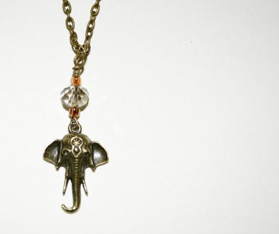 Elephant Necklace, Bronze Elephant Pendant, Czech Crystal Bead Necklace, Elephant Pendant, Small Elephant Head Necklace, Animal Jewelry