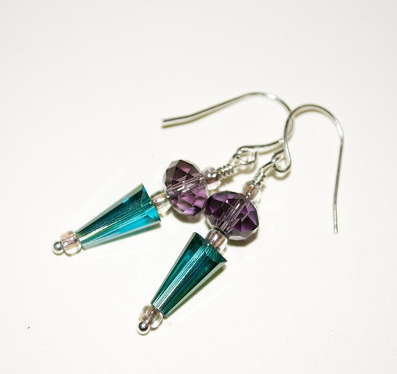 Glass Spike Earrings, Drop Earrings, Glass Drop Earrings, Teal and Purple, Glass Arrow, Dangle Earrings, Teal Drop Earrings, Glass Beads