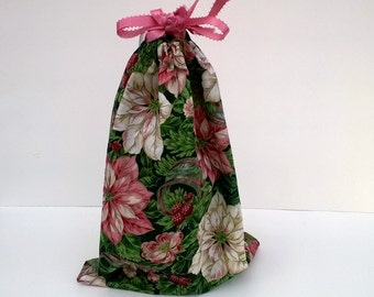 Pink Poinsettia Large Christmas Drawstring Fabric Gift Bag Upcycled, Reusable