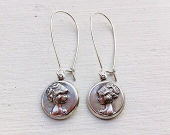 Cameo Earrings/Boho Earrings/Parisian Chic Earrings/Bohemian Earrings/Boho Chic Earrings/Gifts For Her/Mothers Day Gift/Everyday Earrings