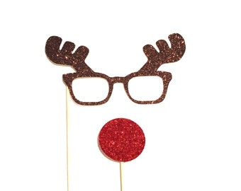 Christmas Photo Booth Props - 2 piece set - GLITTER Photobooth Props - Rudolph the Red-Nose Reindeer