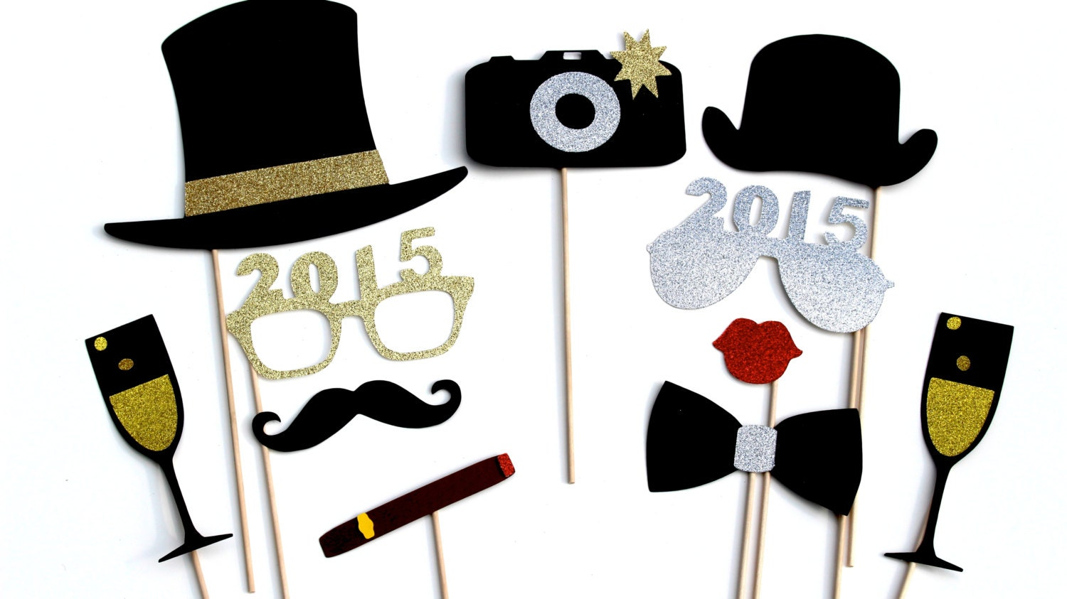 2015 New Years Eve Photo Booth Props Silver and by TheManicMoose