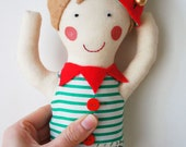 Handmade christmas elf doll with personalised name tag/ personalised christmas decoration / christmas gift