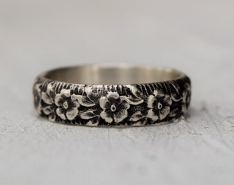 Sterling Silver Floral Band - Floral Wedding Band - Stacking Ring - Sterling Silver Ring - Gift For Her