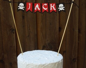 Mini Banner Cake Bunting, Cake Centerpiece for Pirate Birthday Party