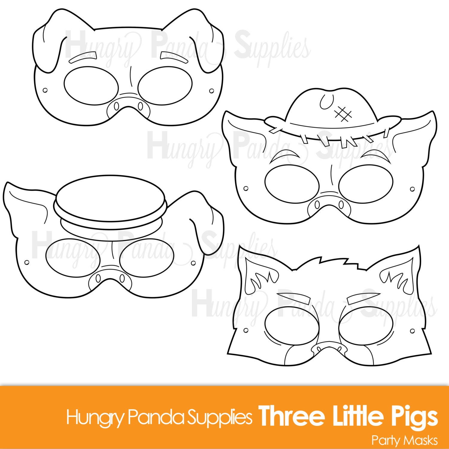 three little pigs printable coloring masks three little pigs
