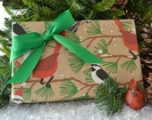 SALE - Snow Birds Christmas Wrapping Paper, Eco-friendly