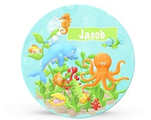 Kids Personalized Plate - Under the Sea Ocean Dolphin and Fish Melamine Plate for Boys - Plastic 10 inch Plate