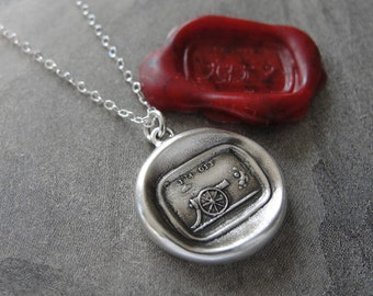 Cannon Wax Seal Necklace I'm Off - antique wax seal charm jewelry by RQP Studio