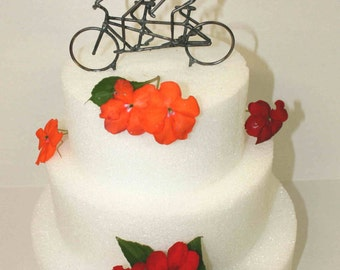 Bride and Groom Tandem Bike Wedding Cake Topper