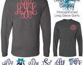 Monogrammed Long Sleeve Shirt with Large Fancy Back Monogram and Smaller Front Monogram