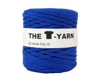 The t-shirt yarn 120-135 yards, 100% recycled cotton tricot yarn, blue 144