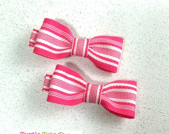 Girls Hair Bows - Hot Pink Stripe Small Bows - NEW Small Hairbows - Tuxedo Bow - No Slip Grip- Baby, Toddler. Girls