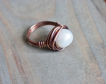 Freshwater Pearl Copper Ring Wire Wrapped Ring Size 6 Copper Ring  Boho Jewelry Bohemian Statement Ring Valentine