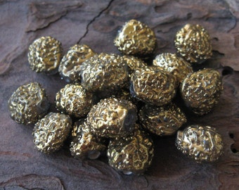 Gold Molten Bumpy Texture Lampwork Glass Nugget Beads 9-12mm India (18)