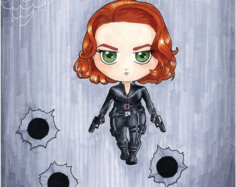 Black Widow Chibi Avenger Art Print