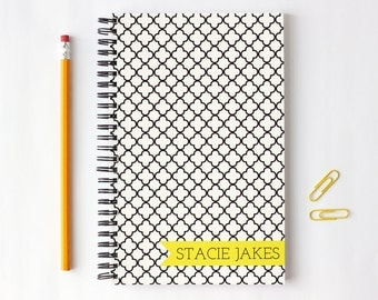 Custom Journal Personalized Notebook Black and White Quatrefoil Bound Note Book Notepad School Supplies Hostess Gift Moroccan Trellis
