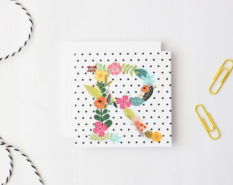 Polka Dot Gift Enclosure Cards Personalized Birthday Tags Small Custom Cards Flower Monogram Black White Polka Dot Cards Tags / Set of 24