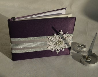 Snowflake Guest book- Silver and eggplant winter wedding guest book set-monogram pen