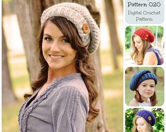 Crochet Hat Pattern / Crochet Pattern / Button Tab Slouchy Hat Pattern 020 / Women's Hat Pattern / Children's Hat Pattern