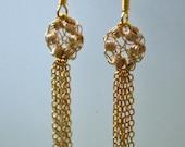 Fringe Earrings - Gold Wire Crochet - Gold Chain Fringe Delicate Dangle