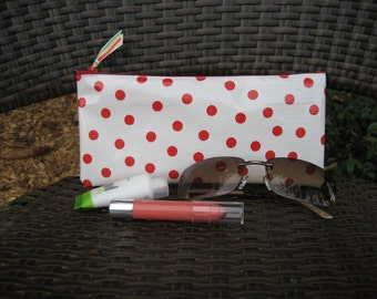 Zippered Oil Cloth Pouch-White with Red Polka Dots Cosmetic Bag--Purse Organizer--Pencil pouch