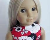 Red Floral Doll Dress and Sash for the American Girl Doll