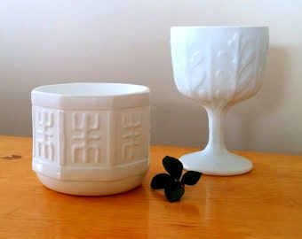 VINTAGE WHITE GLASS - Mid Century Beautiful Compote with Oak Leaf Motif and Mid Century Asian Planter with Symbol for Longevity - Milk Glass