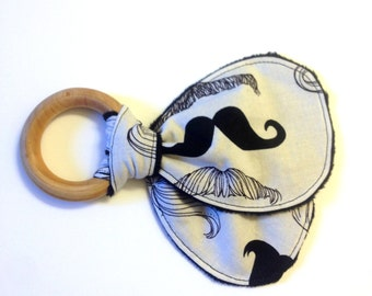 Little Man, Mustache, Baby Teether, Wood Teething Ring, Black and White, Old Timey Mustache, Eco-Friendly, Baby Shower Gift, Maple
