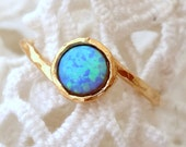 Opal ring, Blue Opal ring, Gold ring, Silver ring, October birthstone ring, Dainty ring, Blue stone ring,Classic delicate ring Stacking ring