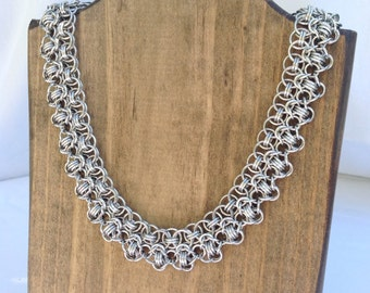 Rondo a la Byzantine Chainmaille Collar Necklace, Statement Necklace, Elegant Collar - Ready to Ship