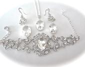 Crystal jewelry set ~ Brides jewelry set ~ Vintage, Victorian style jewelry ~ 3 piece set ~ Beautiful detailed scroll design ~ Cuff bracelet