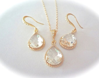 Gold earrings and necklace set - Clear - Gold filled - 14k Gold over Sterling Cubic Zirconia earrings - High quality - Bridal jewelry - gift