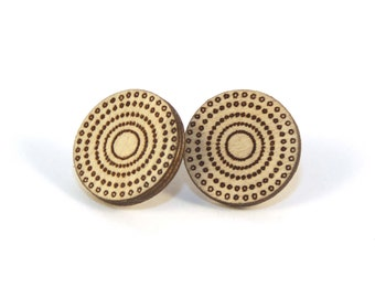 MERIDIAN | round wood studs, laser cut wood post earrings