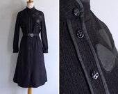 Vintage 80's Black Petals Appliqué Caped High Neck Dress XS or S