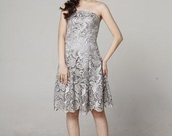 2015 New Lace Wedding dress, Party dress, Bridesmaid dress, Formal dress, Elegant Grey, Knee-length dress - NC560