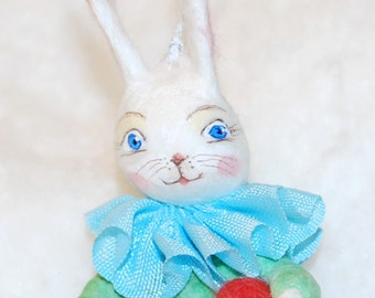 Spun cotton Easter egg bunny ornament ooak vintage craft by jejeMae
