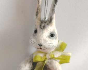 Spun cotton Bunny rabbit with mushroom vintage craft ornament OOAK by jejeMae