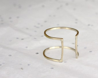 Minimalist Square Ring - Cage Ring - Jewelers Brass or Sterling Silver