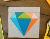 Gemology Quilt Block | Diamond Paper Pieced Block Pattern