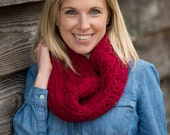 Crochet Chunky Cowl Scarf with Button, Wool Blend Circle Scarf in Cranberry Red - Valentines gift idea