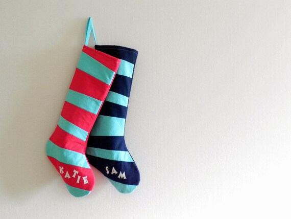 Personalized Christmas Stocking Personalized Stocking, Kids Stockings Family Stockings, Modern Striped Boy Girl Holiday Decoration, Dr Seuss