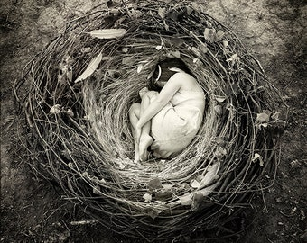 Surrealist Fine Art Print // Sanctuary // Black and White // Nest Home Safety