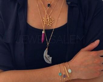 Gold Bracelet Stacking Stone Layered Aquamarine Blue Sapphire Mint Opal Thin Gold Bar Stick Modern Jewelry Gift Urban Dainty Chic C1